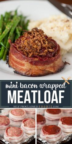 Bacon Wrapped Meatloaf is the best comfort food recipe you can make for dinner. Ground beef and bacon served as mini meatloaf for individual portion sizes! Bacon Wrapped Meatloaf should appeal to all bacon lovers, and the mini meatloaf portion size should appeal to everyone. #meatloaf #bacon #sauce #mini #groundbeef #recipe #best Best Beef Recipes, Easy Meat Recipes, Beef Recipes For Dinner, Delicious Dinner Recipes, Entree Recipes, Bacon Recipes, Meatloaf Recipes, Ground Beef Recipes, Grilling Recipes