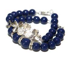 Dark Blue Pearl & Silver Orchid Swarovski Pearl by ColorMeMissy