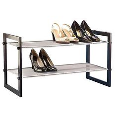 Walnut 2-Tier Stackable Mesh Shoe Shelf