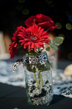 red, black, and white wedding colors with damask pattern