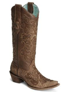 angel wings cowboy boots | Corral Cognac Lizard Cowgirl Boots - Snip Toe - Sheplers