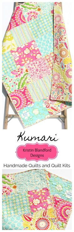 Handmade Baby Quilt, Kumari Garden Free Spirit Fabrics, Husky Fat Quarter Quilt Pattern, Baby Quilt Kit, Throw Quilt Kit, Twin Quilt Kit, Unique Modern Handmade Homemade Gifts, Shower Gift for Baby Girl, Baby Girl Nursery Decor, Baby Bedding, Pink Aqua Blue Paisley Floral Flowers, Beginner Quilt Kits by Kristin Blandford Designs #babyquilts #throwquilts #handmadequilts #specialgift