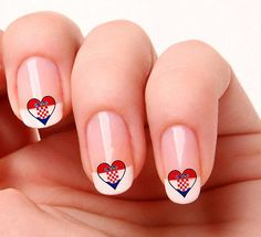 20-Nail-Art-Decals-Transfers-Stickers-719-Croatian-Flag-Heart-Croatia