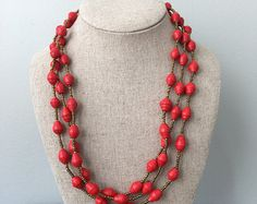 Rwandan Paper Bead Necklace Mint Paper Bead Necklace di GoodGali