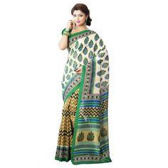 Picturesque Multi Colored Printed Art Silk Saree 8511B