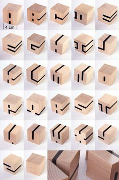 let kids make these block letters with wooden cubes and washitape Block Lettering, Typography Letters, Typography Poster, Hand Lettering, Alphabet Design, Schrift Design, Wooden Cubes, Logo Design, Cube Design