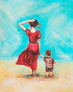 Mother Son Child ART PRINT GICLEE Mother by LeslieAllenFineArt