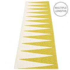 Do you want to add a little pizzazz and drama to your floor? Then look no further than Pappelina's graphic mustard and vanilla Vivi runner.  Woven from soft plastic using traditional Swedish techniques, Pappelina rugs can be used in all areas of the home, and even outdoors.   They are reversible, dust and dirt repellent, and fully washable, although a quick vacuum is probably all they will ever need to keep them looking good as new. www.husandhem.co.uk