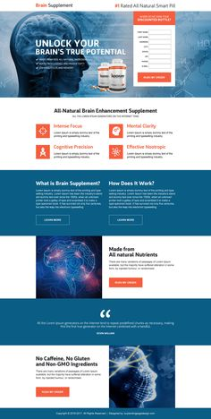 Brain booster product selling landing page | BuyLPDesign Blog