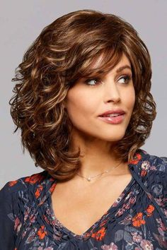 Felicia by Henry Margu Wigs – John Asked - Perm Hair Styles Curly Hair With Bangs, Curly Hair Cuts, Short Curly Hair, Wavy Hair, Curly Hair Styles, Medium Curly Bob, Medium Bob Hairstyles, Hairstyles With Bangs, Layered Hair