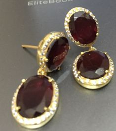 Garnet with Zircon cluster - Bold and Basic -All time favourite Custom Jewelry, Sterling Silver Earrings, Garnet, Gemstone Rings, Diamond, Style, Granada, Swag, Personalized Jewelry