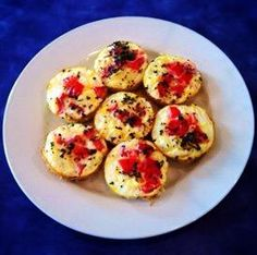 EGG WHITE BITES -10 Egg whites - 1 Tomato  - 1 Onion - 1 Tbsp. of Basil - Pepper DIRECTIONS In a bowl whisk egg whites, pour egg mixture equally in a 6 muffin pan. Top each portion with 1 Tsp. of Tomato & 1 Tsp. of onion. Then a final top off with Basil & pepper. Bake in oven for 8-10 min at 350• , Enjoy !