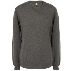 Grey Hanover Merino Wool Sweater | Pretty Green | Designer fashion from Liam Gallagher