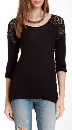 Abound 3/4 Sleeve Lace Back Tee
