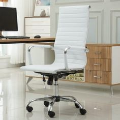 Roundhill Furniture Panoton Chromel Contemporary High Back Office Chair, Taupe, White