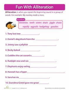 First Grade Phonics Worksheets: Fun with Alliteration