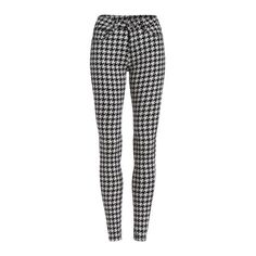 SheIn(sheinside) Black White Slim Houndstooth Pencil Pant (259.840 IDR) ❤ liked on Polyvore featuring pants, pantaloni, jeans, black, black trousers, pencil pants, black stretchy pants, stretchy pants and slim pants