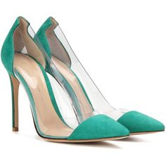 Gianvito Rossi Plexi Suede and Transparent Pumps ($785) ❤ liked on Polyvore featuring shoes, pumps, green, green pumps, acrylic shoes, suede pumps, transparent shoes and see-through shoes