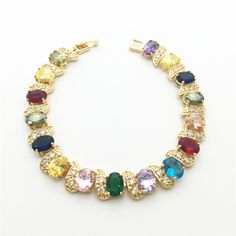 Multicolor Color Crystal AAA Zircon Gold color Bracelets for women Health Nickel & Lead free Fashion jewelry
