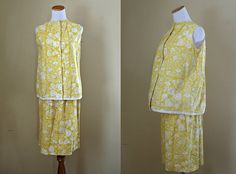 1960's Two Piece Maternity Outfit  Yellow & by LittleGhostVintage