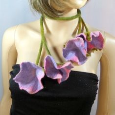 Felted pink petunia necklace jewelry