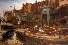 London River. The Limehouse Barge Builders - Charles Napier Hemy