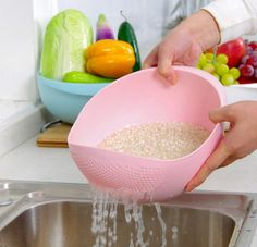 Pastel rice washers that are cheap AF. | 37 Awesome Things You Never Knew You Needed For Your Home