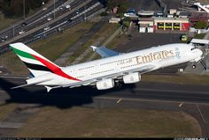 Emirates Airbus departing Sydney-Kingsford Smith International for Auckland, August (Photo: Paul McCarthy) Emirates Airbus, Emirates Airline, Airbus A380, Boeing 747, Airport Photos, Airplane Photography, Commercial Aircraft, Civil Aviation, Aircraft Pictures