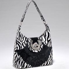 Studded Zebra Print Shoulder Bag w/ Western Theme Ornament - Black