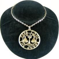 "1960s Vintage "" Here Comes The Judge"" Large Medallion Pendant Necklace FREE SHIPPING $7.00 Mid-Life Crisis  SALE!!"