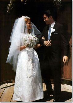 "A publicity photograph from the end wedding scene. Ann-Margret and Elvis Presley wed in the movie ""Viva Las Vegas"""