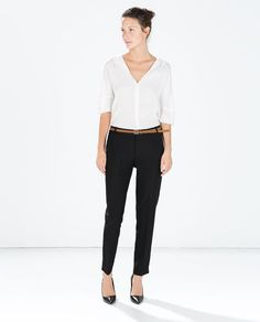 COOL WOOL CROPPED TROUSERS-Pleats-Trousers-WOMAN | ZARA United States