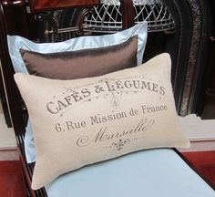 """Burlap Pillow Cover - French Vintage Typography Burlap - 12"""" x 18"""" - Shabby Chic - French Country Accent Pillow"""