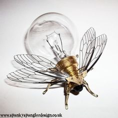 Steampunk brooch - Large Fly Lightbulb Brooch - OOAK Unique Steampunk Steam Punk Clockwork Jewelry (room inspiration)