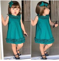 Best 12 New Collection Kids Dresses Baby Dress Design, Baby Girl Dress Patterns, Kids Dress Clothes, Little Girl Dresses, Children Clothes, Baby Dresses, Dress Girl, Baby Girl Fashion, Fashion Kids
