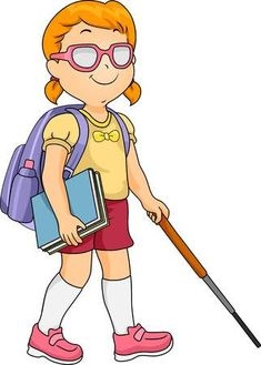 Picture of Illustration of a Blind Girl Using a Cane to Find Her Way stock photo, images and stock photography. Student Clipart, Student Cartoon, Cartoon Kids, Kid Character, Character Design, Blind Girl, Medical Symbols, Kids Vector, Retro Cartoons