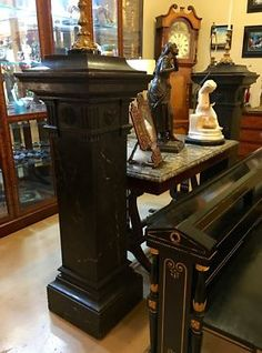 """Pair of Antique Turn of the Century Faux Painted Marble Pedestals   15"""" Square x 74"""" High   $2750 Pair   #47907  Rick's Antiques and Home Decor  Dealer #36 In Debris Antiques 1205 Slocum S"""