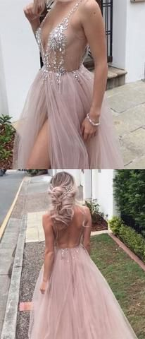 Sexy Beaded Open Back Tulle Split Long Evening Prom Dresses #prom #dresses #longpromdress #promdress #eveningdress #promdresses #partydresses #2018promdresses #ballgown #eveninggown #promgown #backlesspromdresses