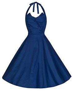 Lindy Bop 'Myrtle' Vintage 1950's Halter Neck Flared Swing Dress (XS, Midnight Blue) Lindy Bop http://www.amazon.com/dp/B00NY0CUB0/ref=cm_sw_r_pi_dp_v..5ub0J9VDVY