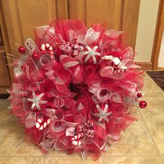 Red and silver Christmas wreath