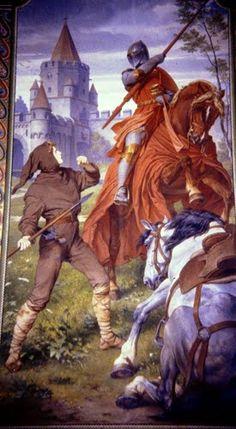 Neuschwanstein, wall painting inside