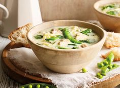 Springtime Chicken, Spinach and Sugar Snap Pea Soup Recipe