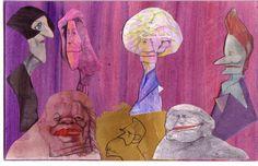 Arriba, Herta Müller, Nadine Gordimer, Alice Munro y Elfriede Jelinek. Abajo, Toni Morrison, Alfred Nobel y Doris Lessing. / sciammarella