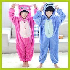 dc3b04eef6 Children Kids Animal Onesies Pijamas Pink Lilo Blue Stitch Pajamas Cosplay  Party Costume Pyjamas Winter Boys