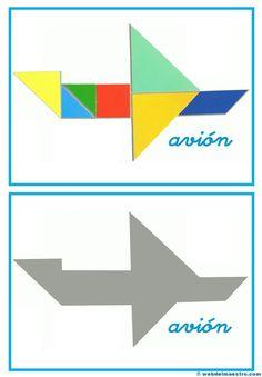 Tangram | Figuras para imprimir online Preschool Spanish, Tangram Puzzles, Educational Games For Kids, Busy Book, Color Shapes, Early Childhood Education, Worksheets For Kids, Pattern Blocks, Kids Education