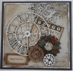 Grungy Vintage Birthday Card... Scrapbook.com. / great recipe for a masculine card