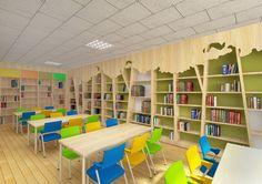 Kindergarten Interior, Kindergarten Projects, Kids Library, Library Design, School Classroom, Classroom Decor, School Design, Daycare Design, Desk Arrangements