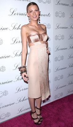 I heart this champagne colored fringed dress on Blake Lively.