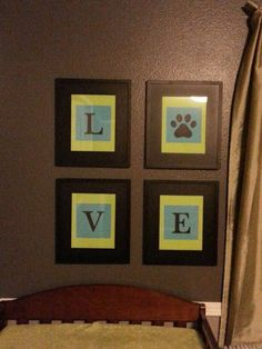 L-O-V-E, green and blue diy nursery art. Loving it up in Tristons room!