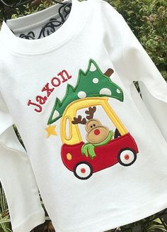 Boys Christmas Appliquéd personalized shirt- reindeer in cozy coupe with Christmas tree